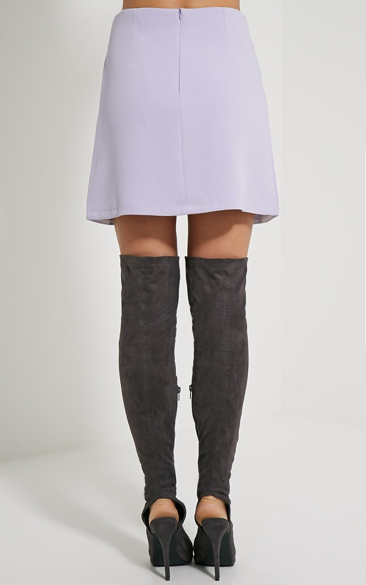 Sabeen Mauve Curved Hem Mini Skirt 4