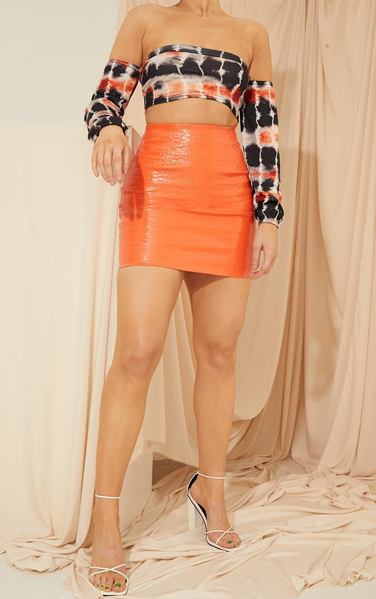 Orange Croc Vinyl Mini Skirt 1