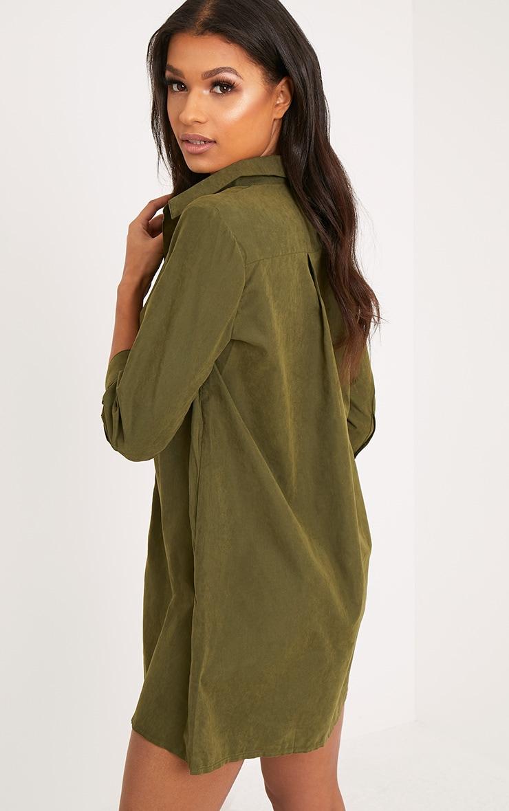Leni Khaki Shirt Dress 2