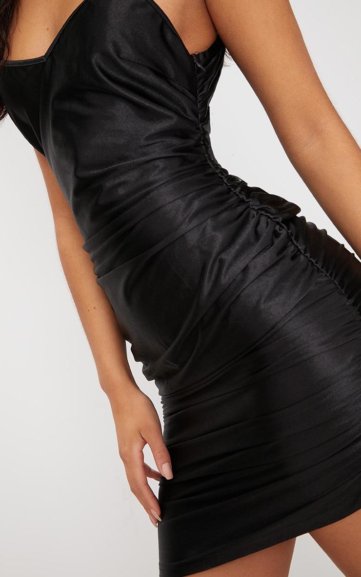 Black Satin Strappy Plunge Ruched Bodycon Dress 5
