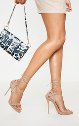 Taupe Lace Up Sandals 1