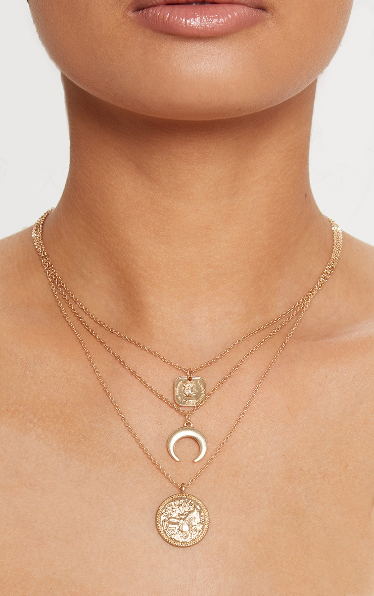 Gold Coin Bull Horn Triple Layer Necklace