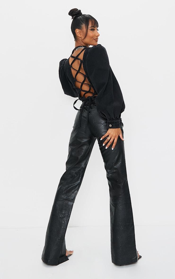 Top en jean noir délavé à manches bouffantes 3