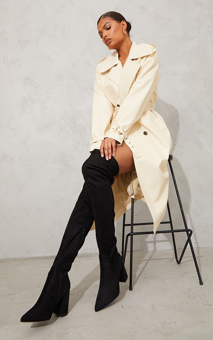 Black Wide Fit Point Toe Over The Knee Boots 2