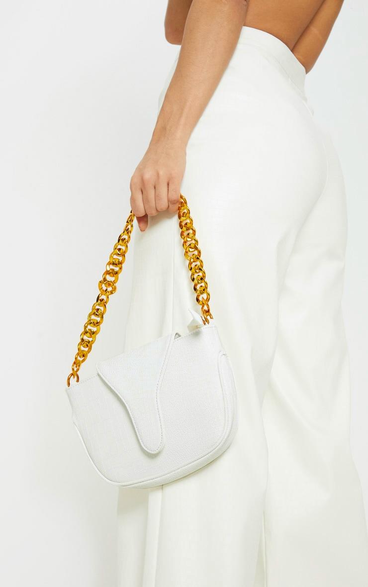 White Gold Chain Croc Mini Bag 1