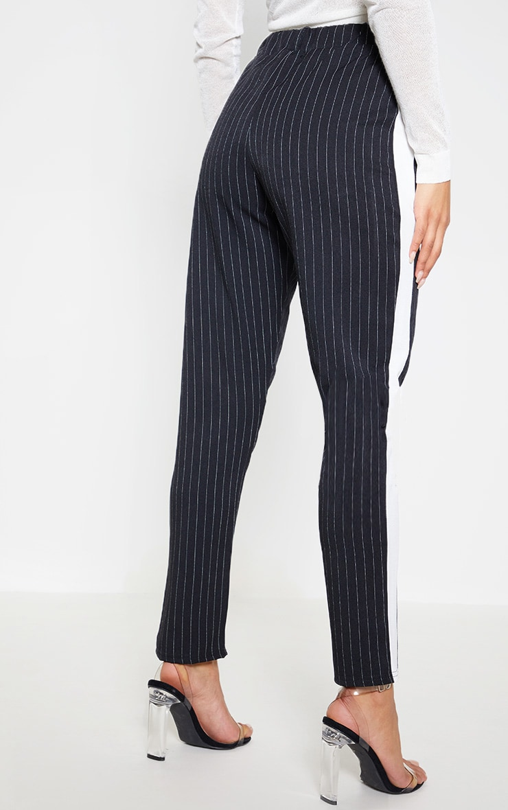 Black Pinstripe Formal Side Stripe Trouser 4