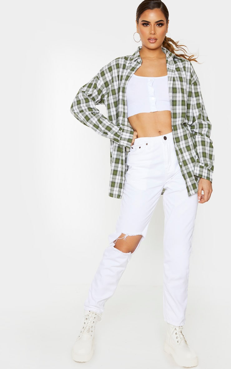 Tall Khaki Oversized Checked Shirt image 4