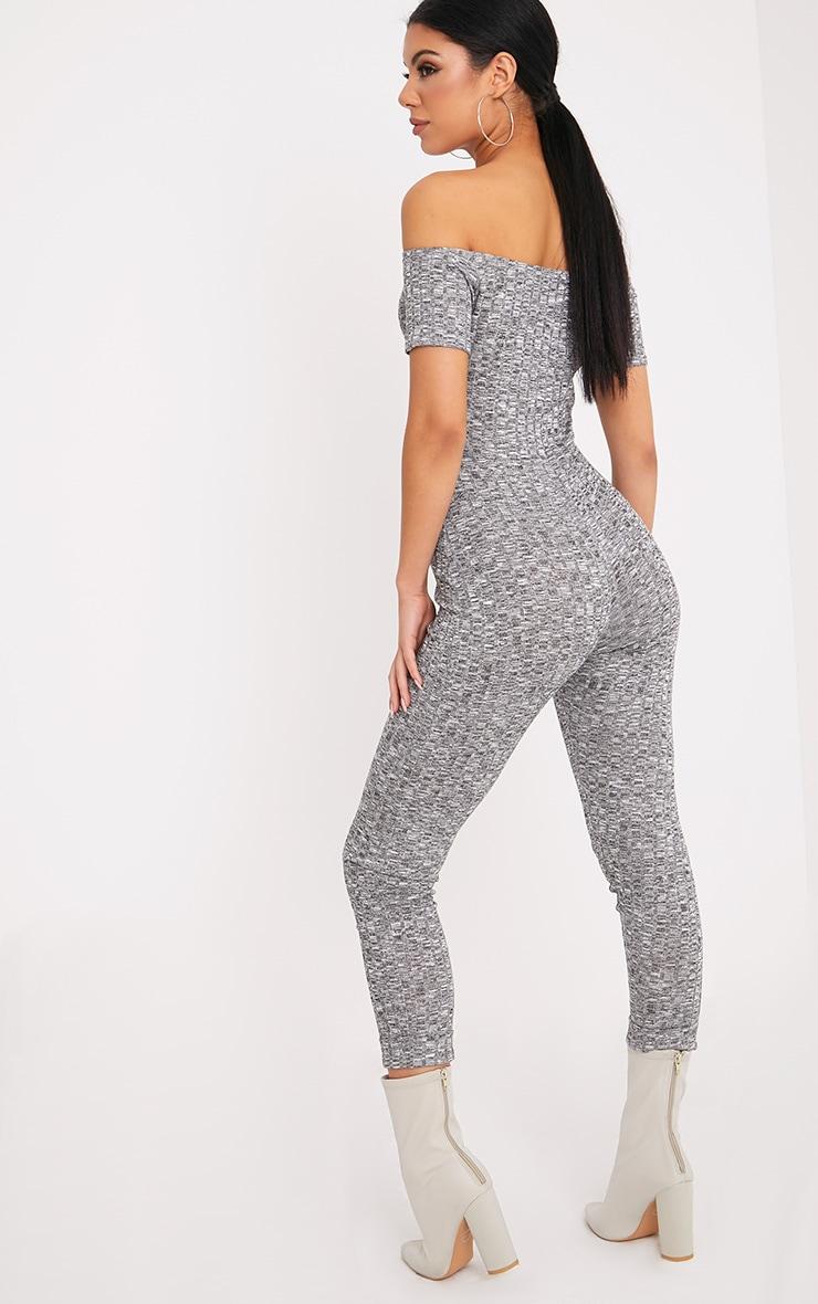 Farrah Grey Bardot Knitted Jumpsuit  2