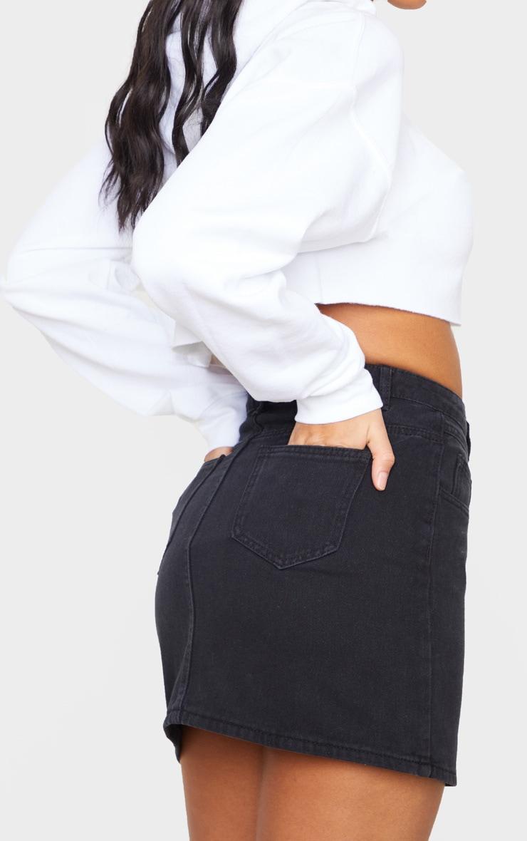 Black V Panel Black Denim Skirt 5