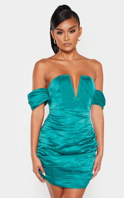 Emerald Green Satin V Bar Ruched Bodycon Dress