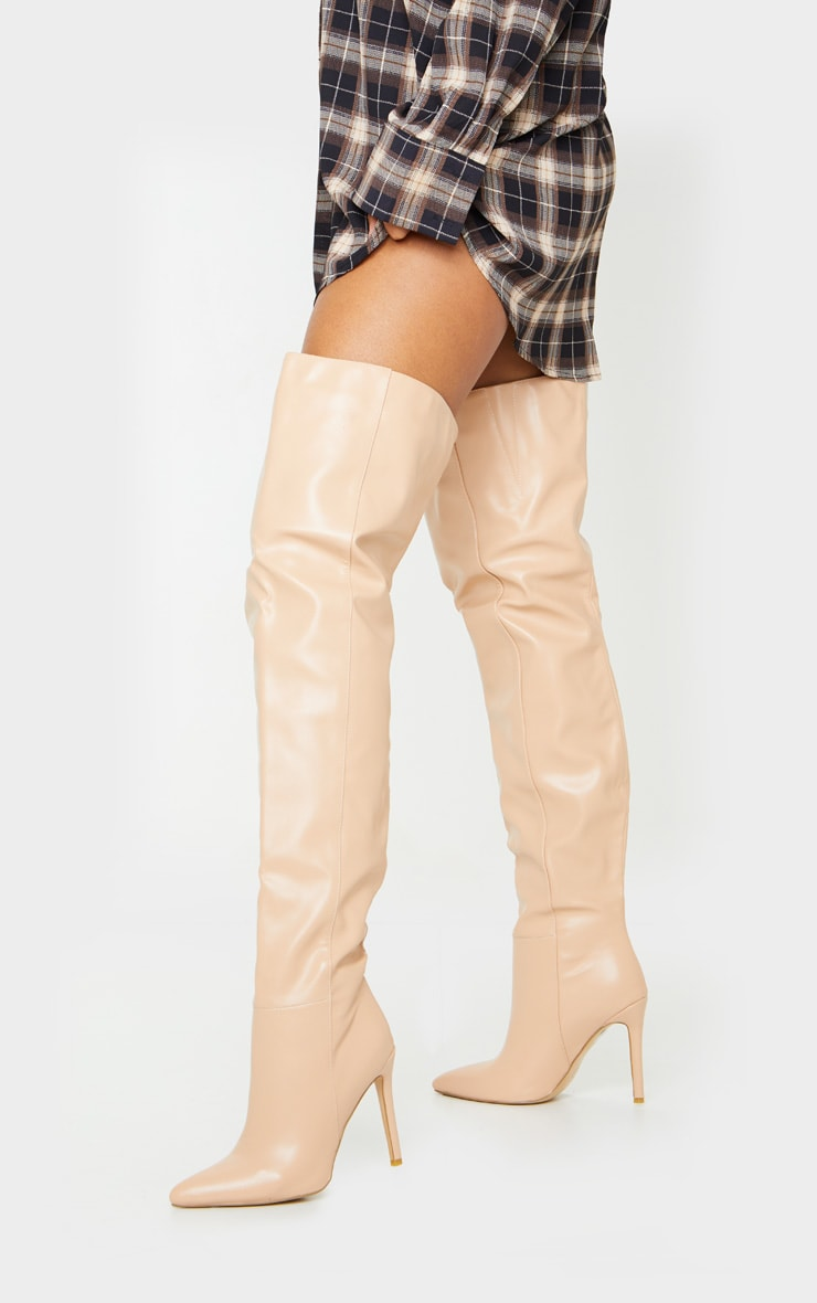 Nude Thigh High Stiletto Boots 1