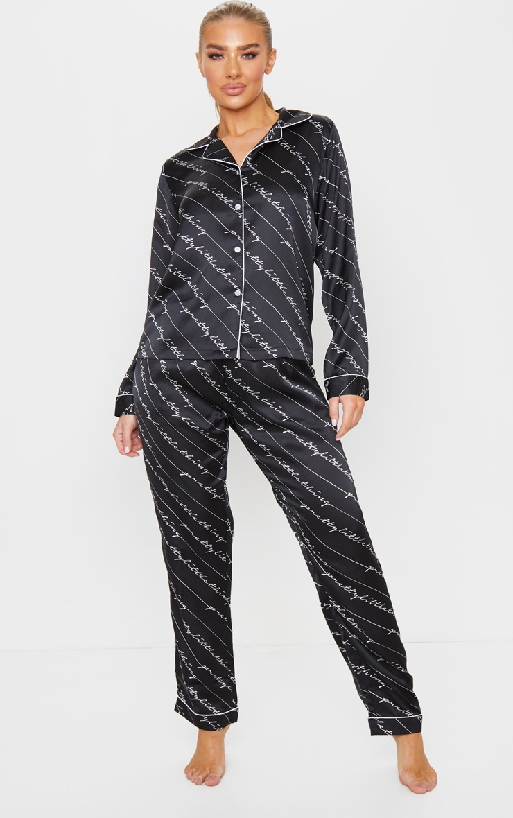 PRETTYLITTLETHING Black Satin Handwritten Long PJ Set 3