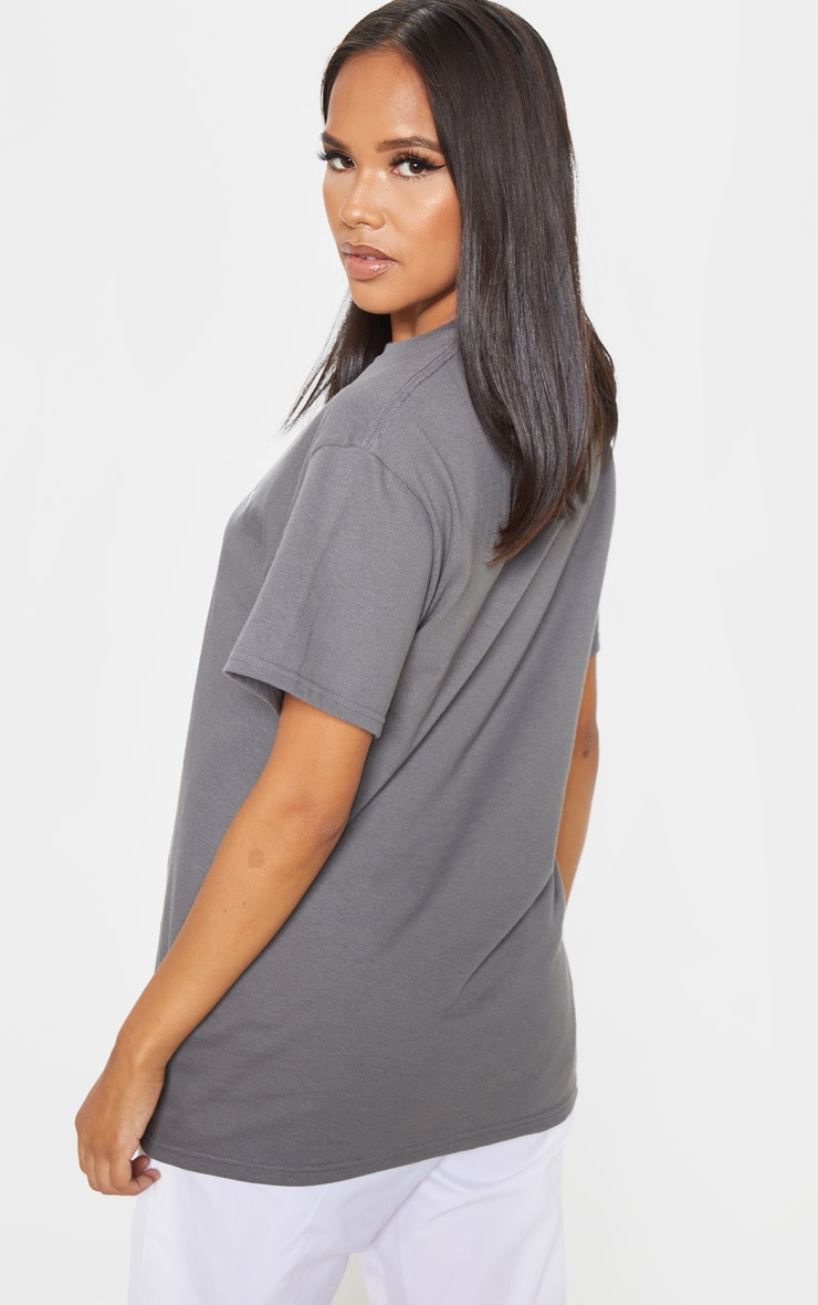 Charcoal Grey Be Yourself Embroidered Oversized T Shirt 2