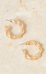 Gold Chunky Twist Small Hoop Earrings 3