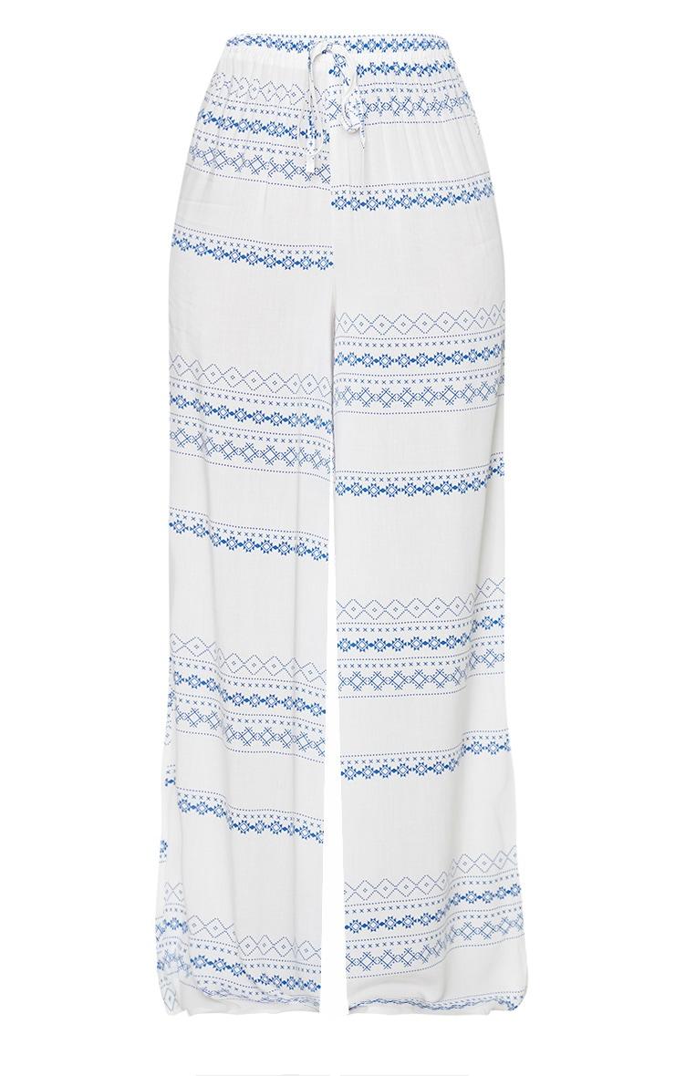 White Paisley Print High Waisted Wide Leg Trouser 5