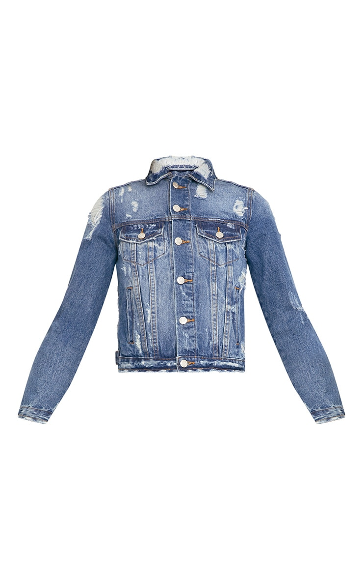 Angee Cropped Mid Wash Distressed Denim Jacket 3
