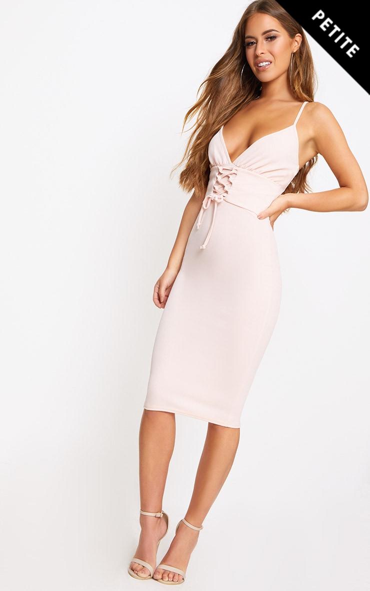 Petite Blush Crepe Corset Waist Midi Dress 1