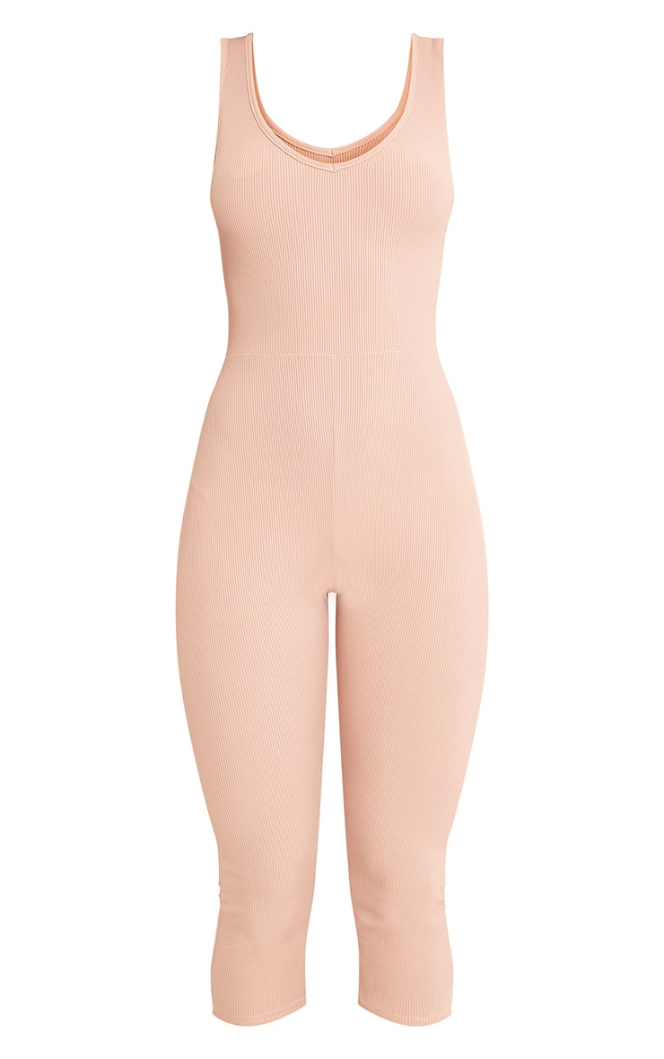 Luciana Nude Ribbed V Neck Unitard 3