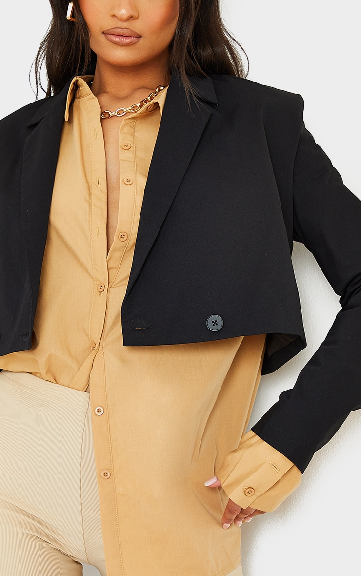 Black Woven Shoulder Detail Extreme Padded Double Button Blazer 4