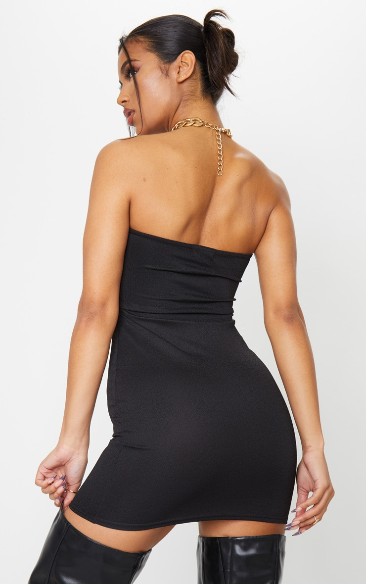 Basic Black Cotton Blend Bandeau Pointy Hem Bodycon Dress 2
