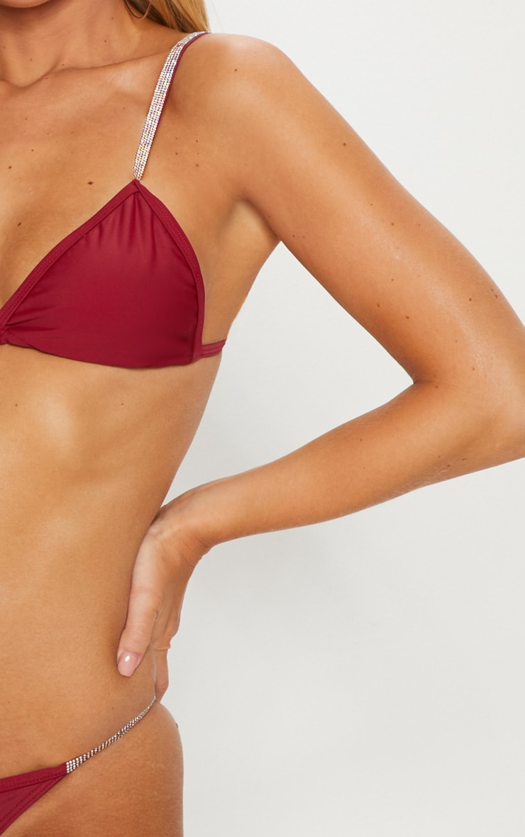 Burgundy Diamante Strap Bikini Top 5