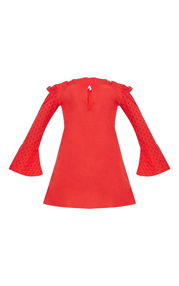 Red Bardot Lace Sleeve Shift Dress 3