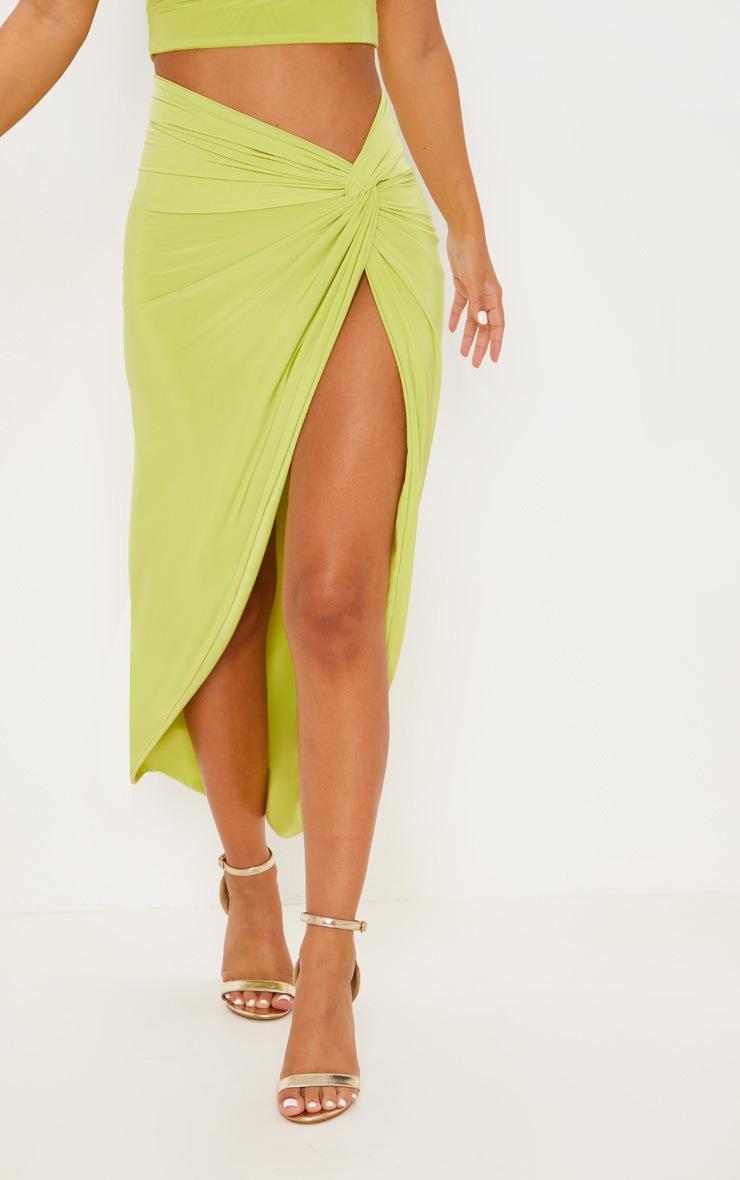 Petite Lime Slinky Knot Front Midi Skirt 2