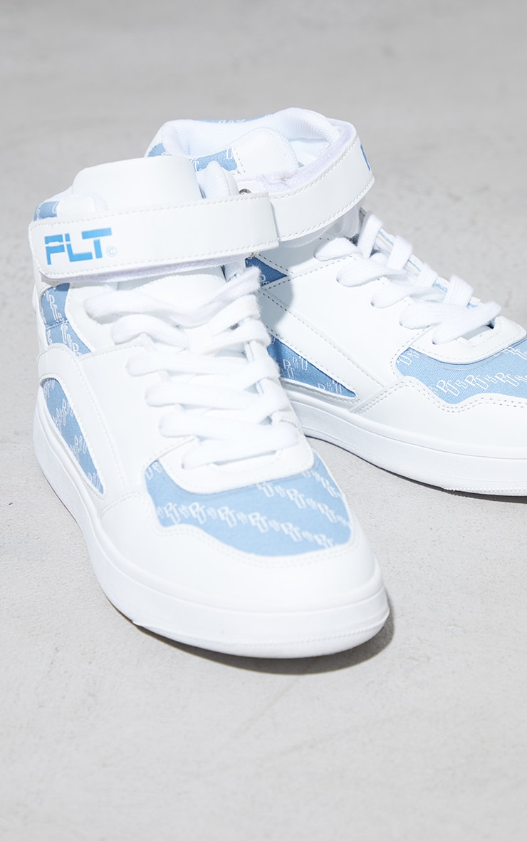 PRETTYLITTLETHING Blue Monogram High Top Sneakers 3