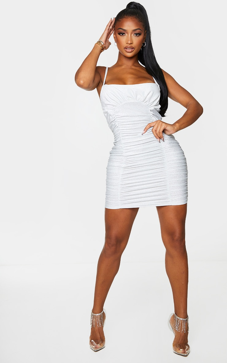 Shape Silver Glitter Extreme Ruched Bodycon Dress 1