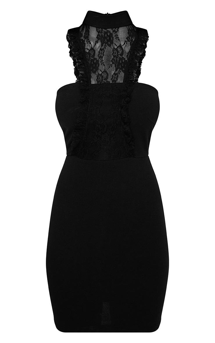 Jessalyn Black Lace Overlay High Neck Bodycon Dress 3