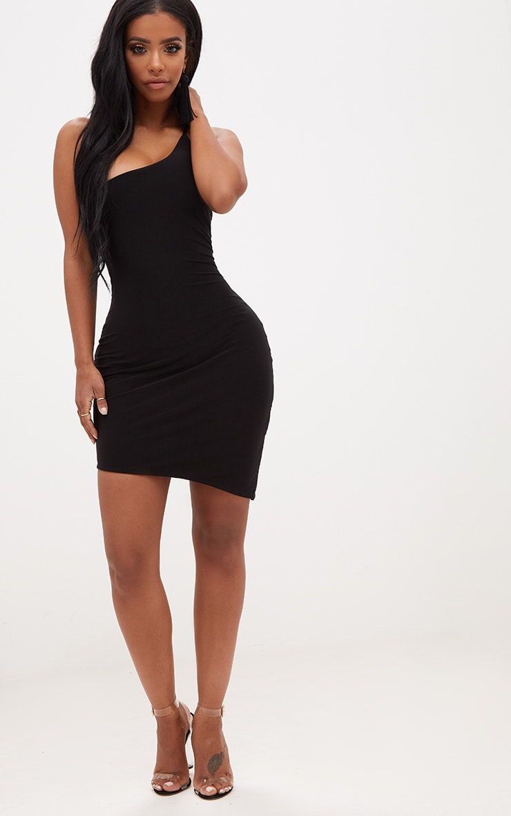 Shape Black One Shoulder Asymmetric Bodycon Dress 4
