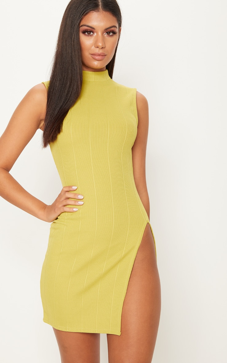 Dark Lime Bandage  Sleeveless Extreme Split Leg Bodycon Dress 1