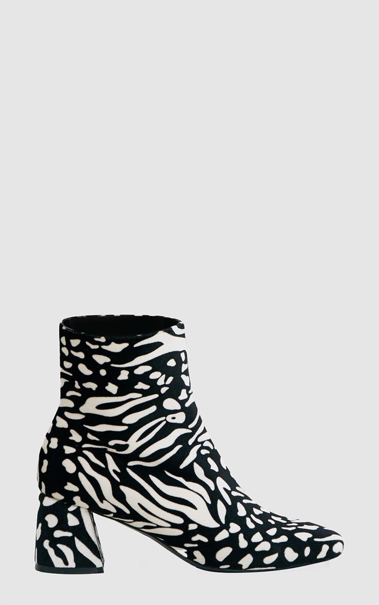 Black Zebra Printed Velvet Ankle Boots 3