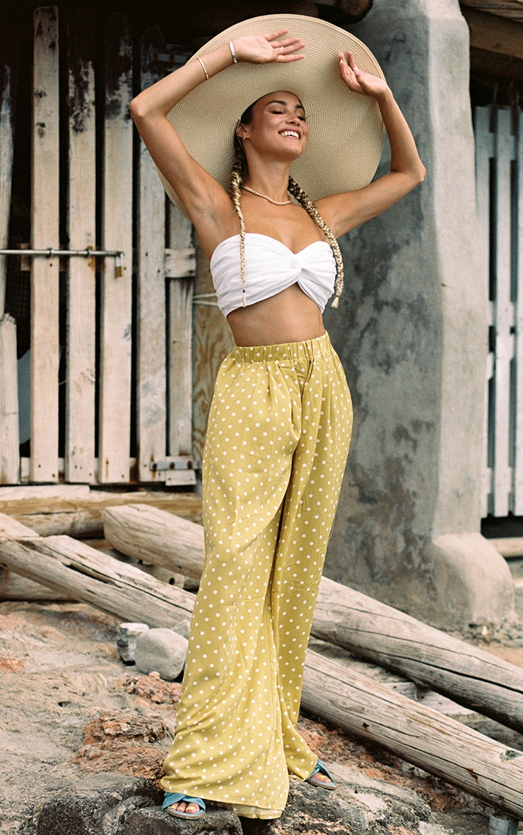 Mustard Polka Dot Print Wide Leg Trousers