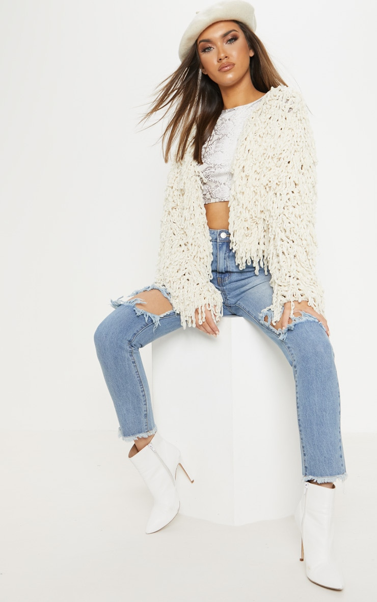 Cream Chenille Shaggy Knitted Cardigan 4