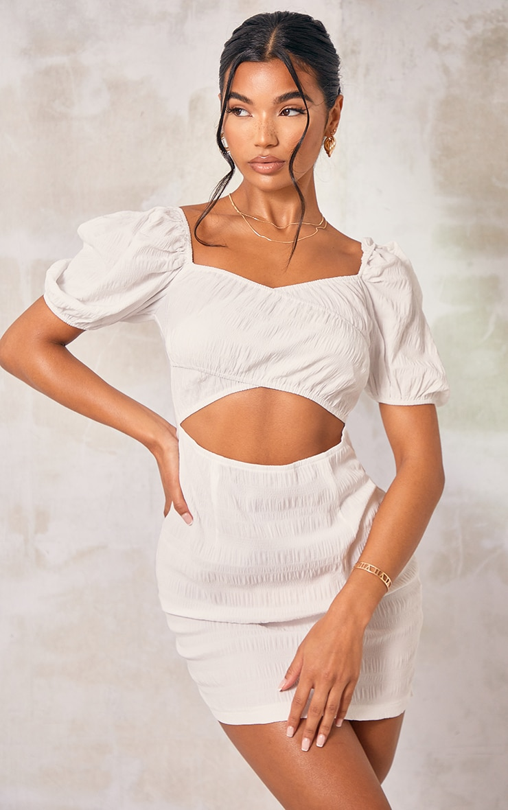 White Textured Linen Look Cut Out Puff Sleeve Shift Dress image 1