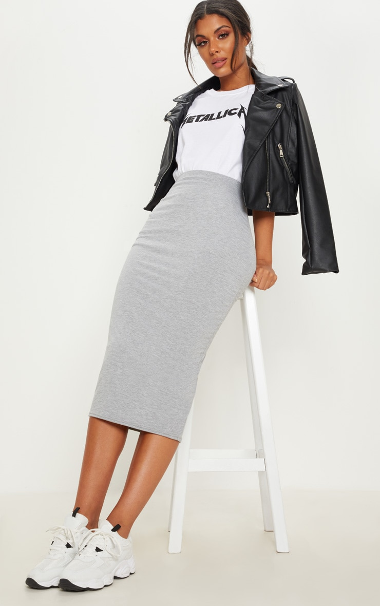 Grey Marl Ultimate Jersey Longline Midi Skirt 1