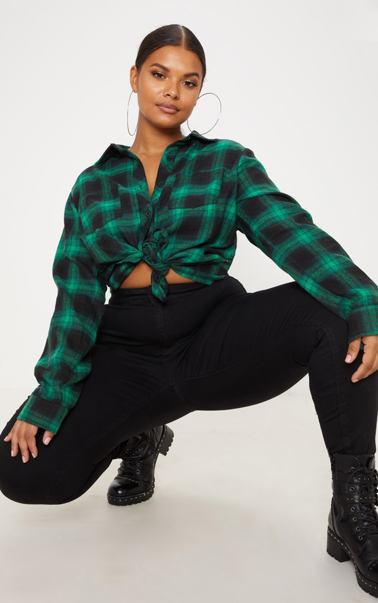 Plus Green Tartan Oversized Shirt 1