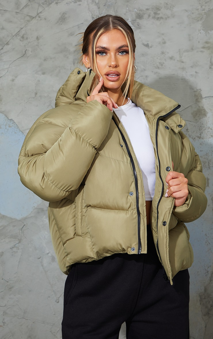 Khaki Nylon Oversized Curved Panel Wadded Puffer Jacket 1