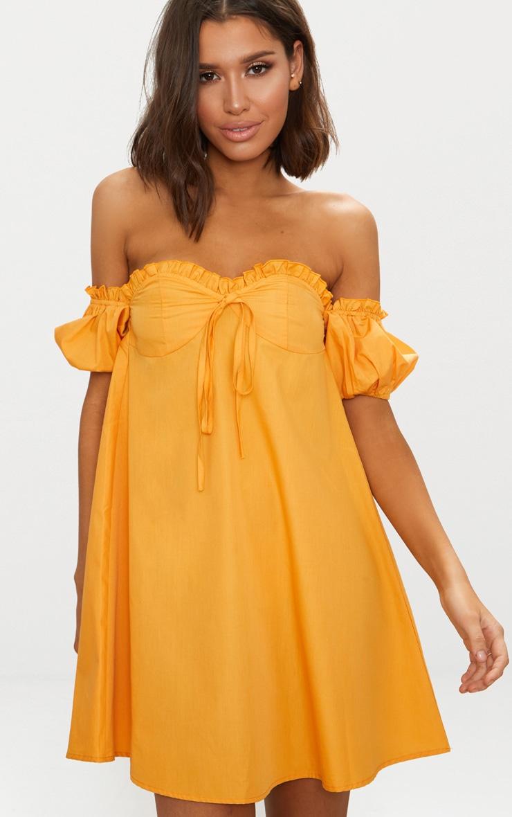 Mustard Frill Bust Bardot Shift  Dress 1