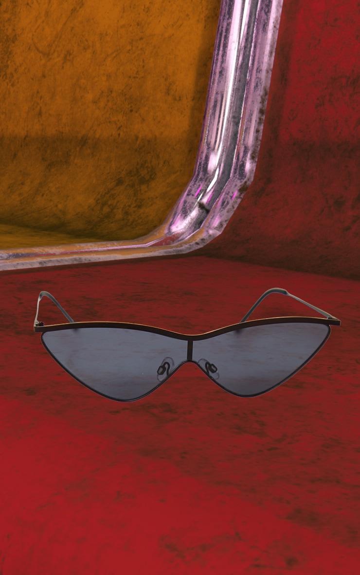 Black Metal Frame Slim Sunglasses 2