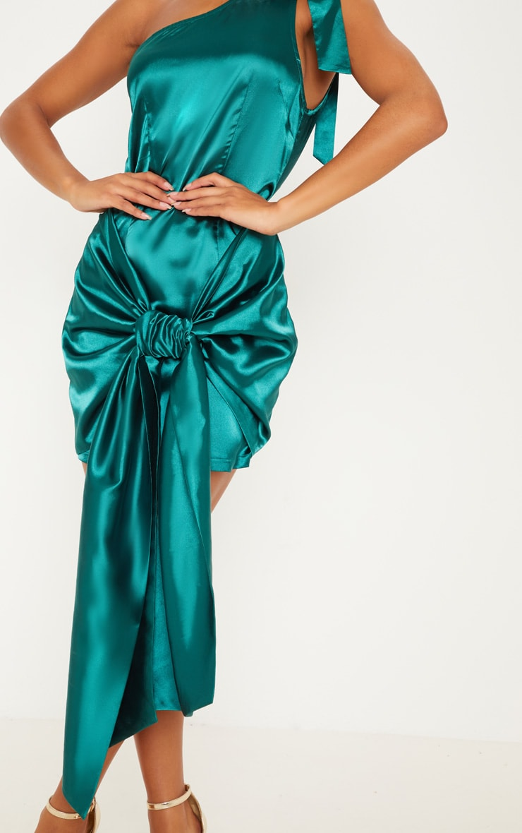 Emerald Green Satin One Shoulder Knot Detail Bodycon Dress 5