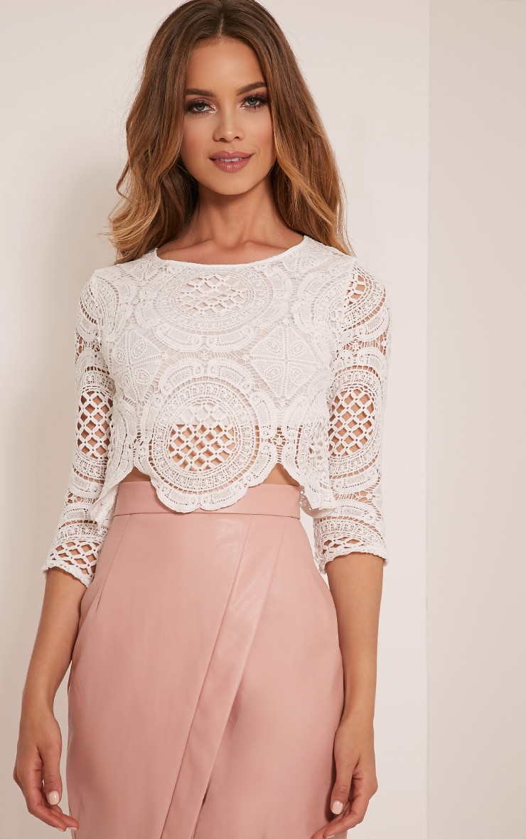 Anuskha White Embroidered Lace Long Sleeve Top 1