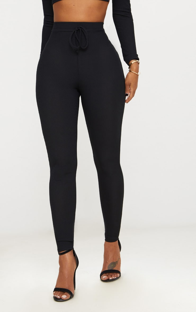 Shape Black Ribbed High Waist Leggings 2
