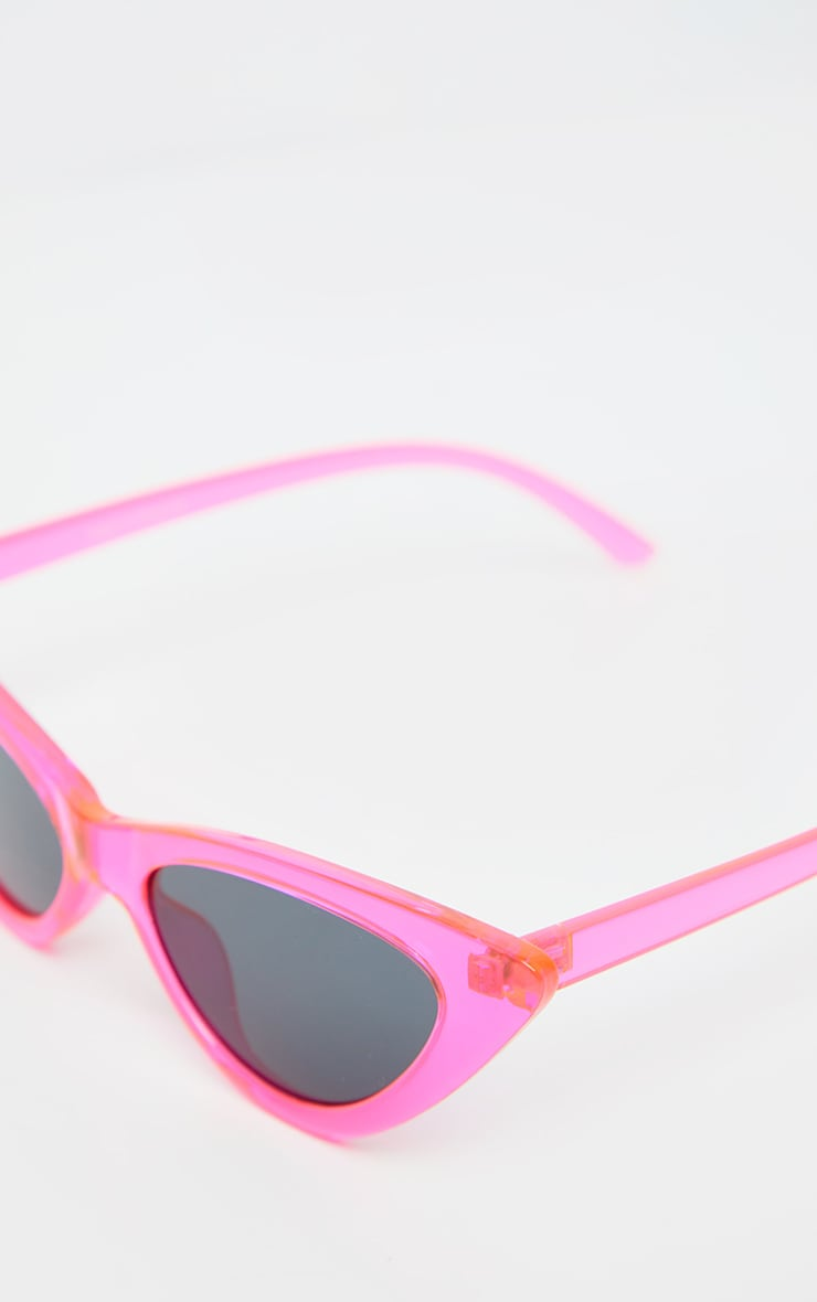 Neon Pink Transparent Frame Cateye Sunglasses 3
