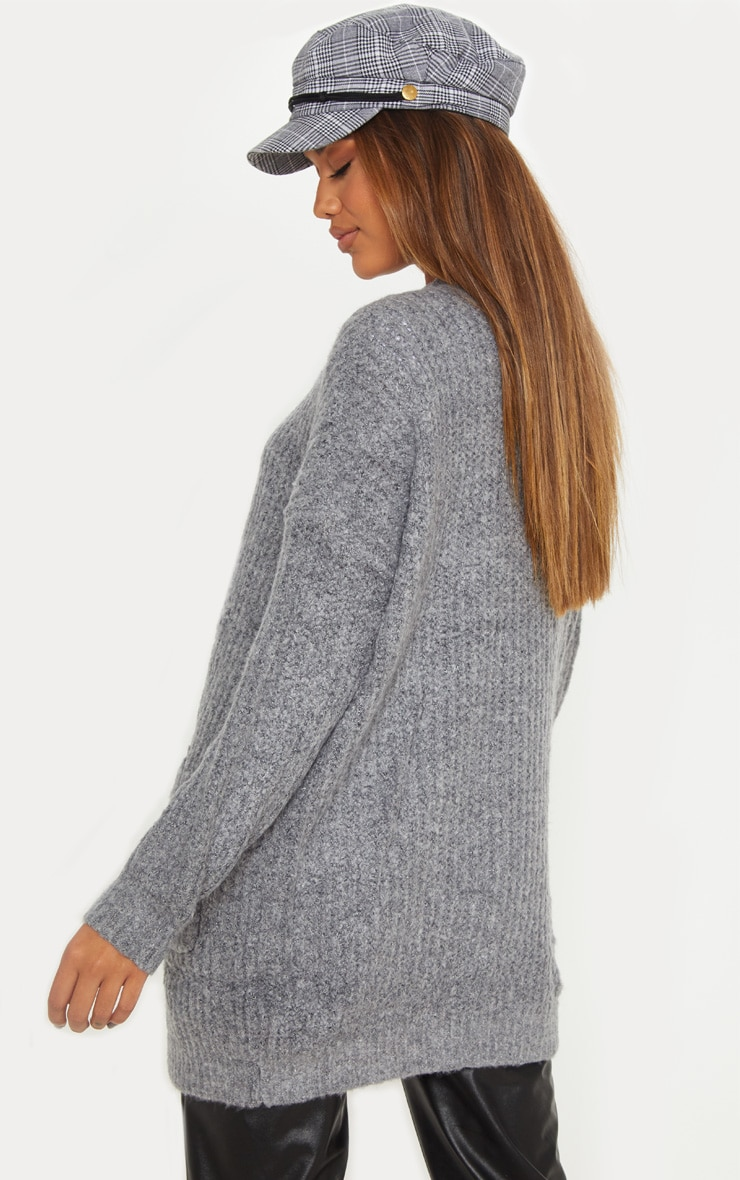 Grey Oversized Knitted Cardigan  2