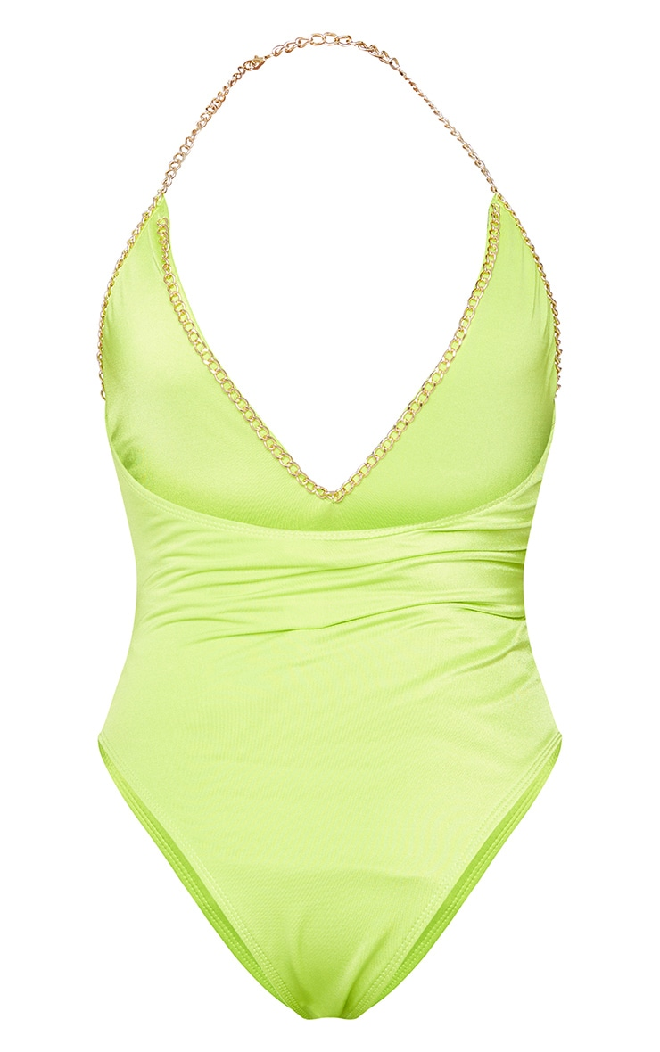 Lime Chain Trim Scoop Swimsuit 6