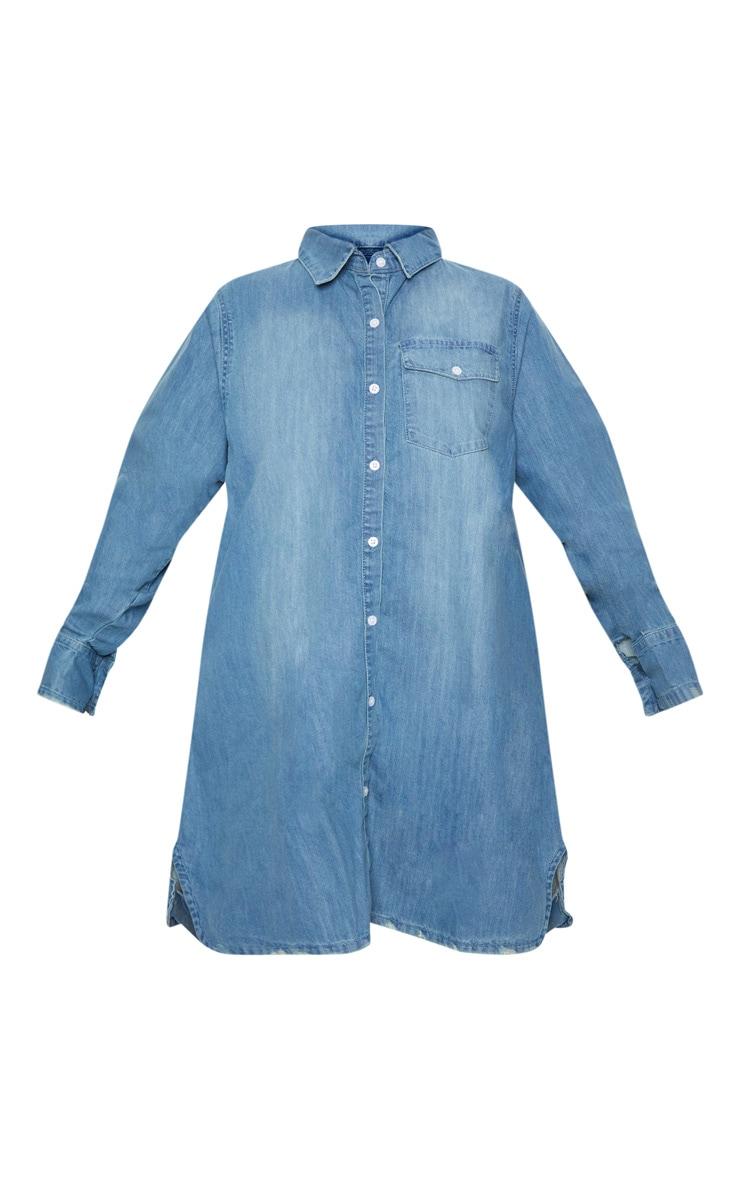 Plus Blue Oversized Denim Shirt Dress 3
