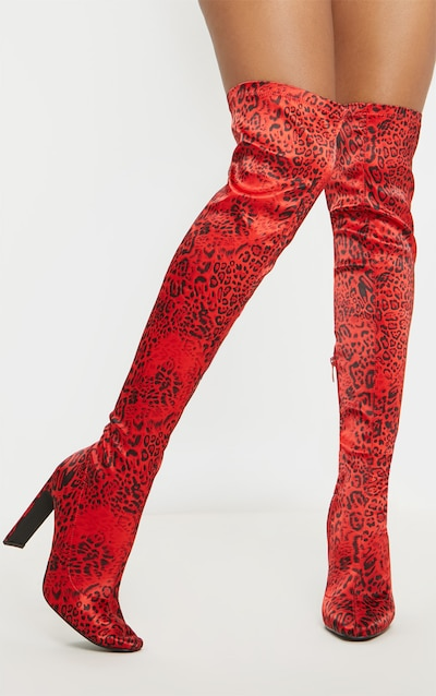 1e0769bcc73 Red Leopard Satin Thigh High Boot