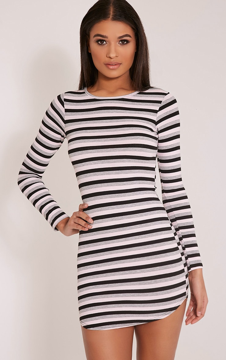 Peetra Pink Long Sleeve Curved Hem Stripe Dress 1